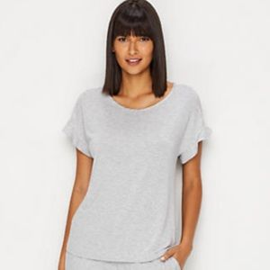 Kate Spade Grey T-Shirt Ruffled Sleeves with Lace